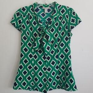 Banana Republic Green & Navy Moroccan Print Blouse